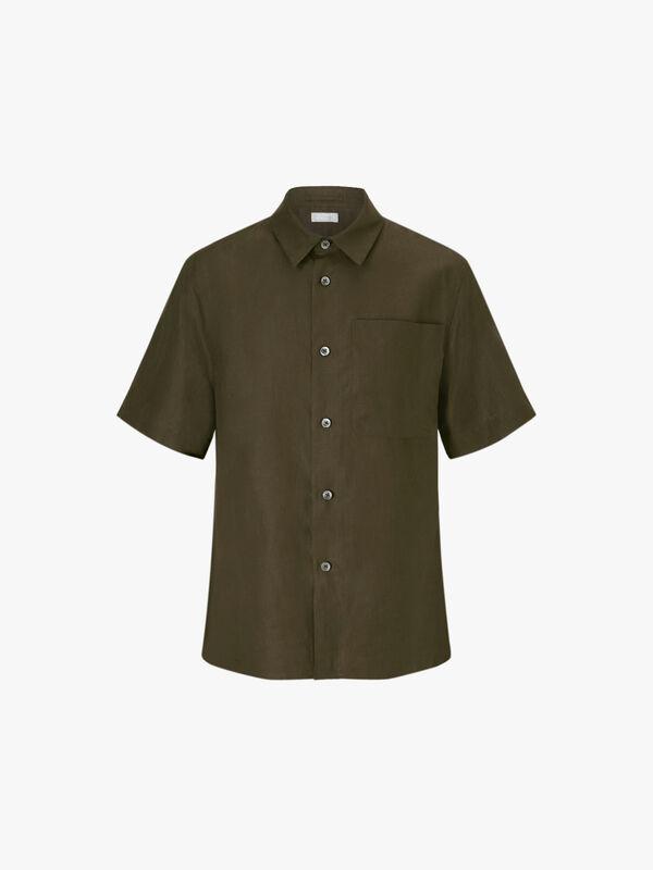 Short Sleeve Big Pocket Linen Shirt