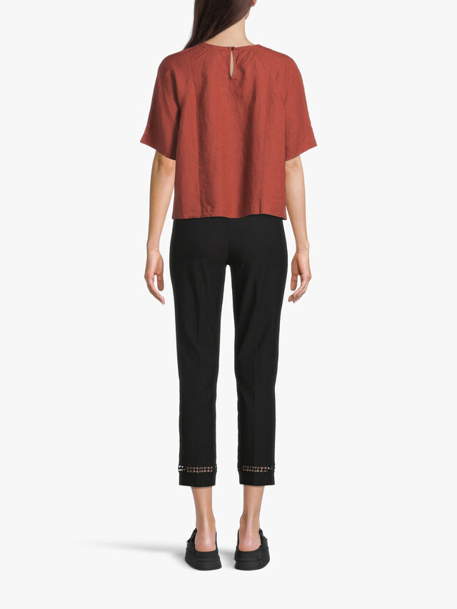 Slim Fit Cropped Pant with Cut Out Hem Detail
