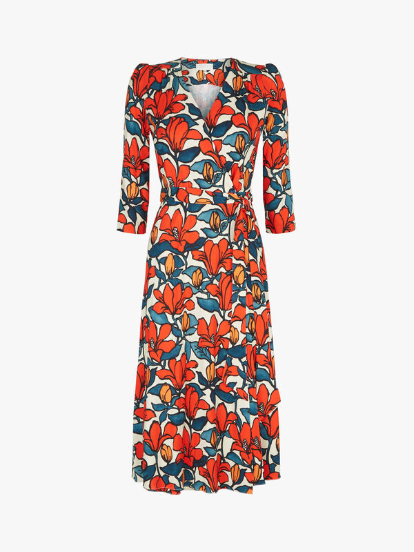 Glenda Hibiscus Print Wrap Dress