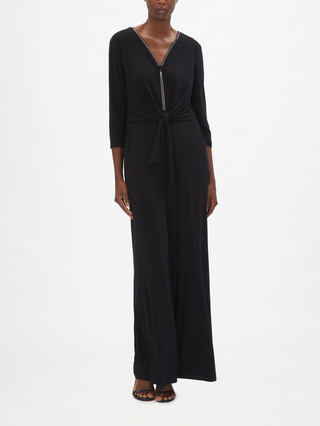 Wide Leg Belted Jumpsuit with Sparkle Zip