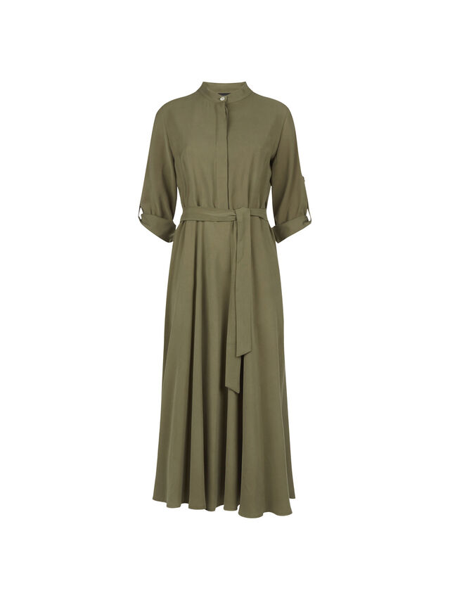 Roll Sleeve Midi Dress
