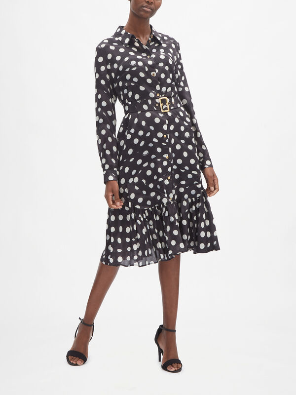 Long Sleeve Peplum Hem Shirt Dress