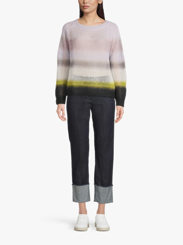 Round Neck Stiped Mohair Knit