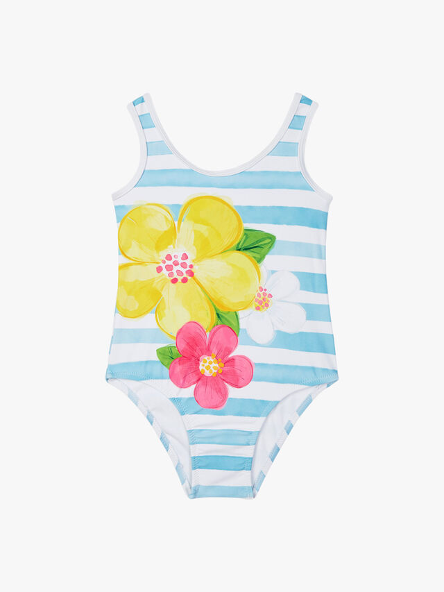 Stripe and Flower Swimsuit