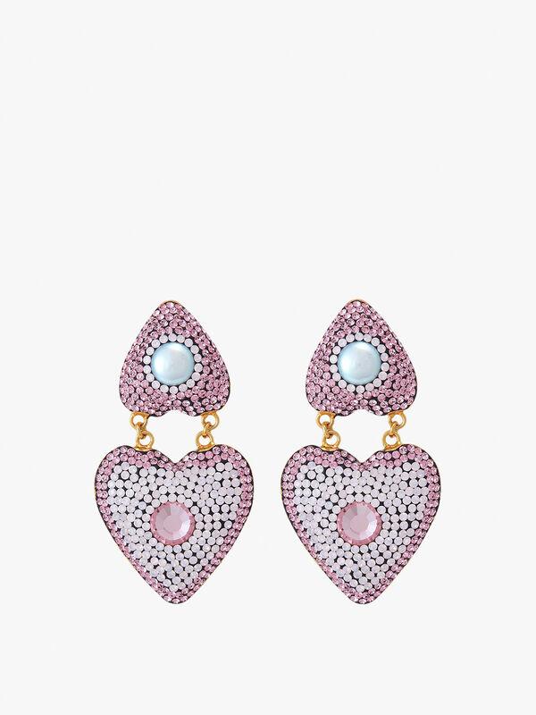Pink Heart Double Earrings