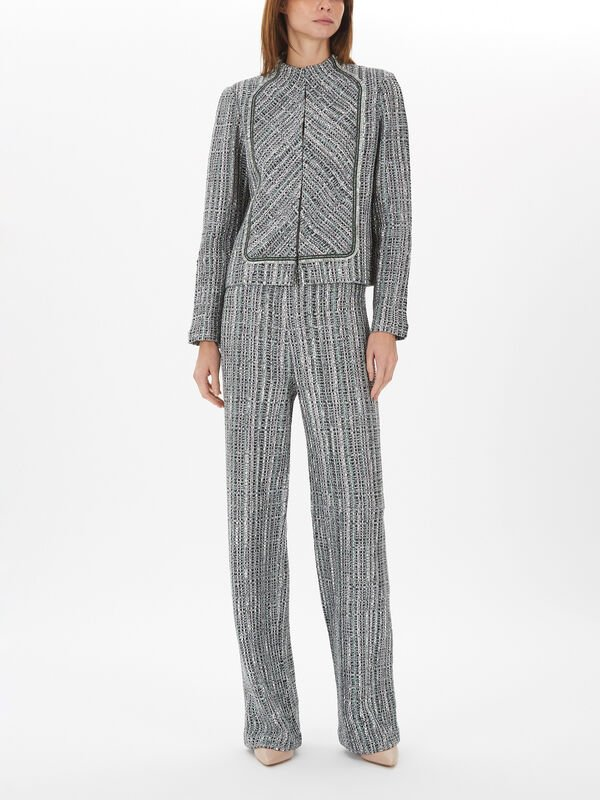 Ribbon Textured Inlay Knit Jacket