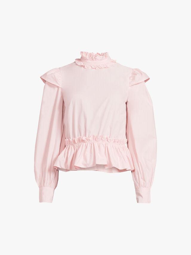 Frilled Cotton Poplin Shirt