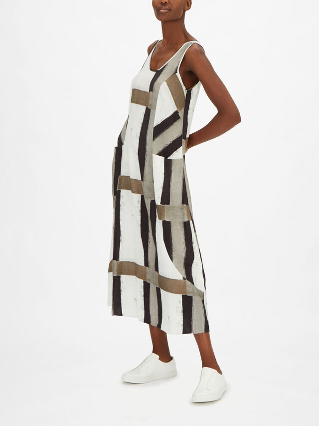 Block Print A Line Maxi Dress with Front Pockets