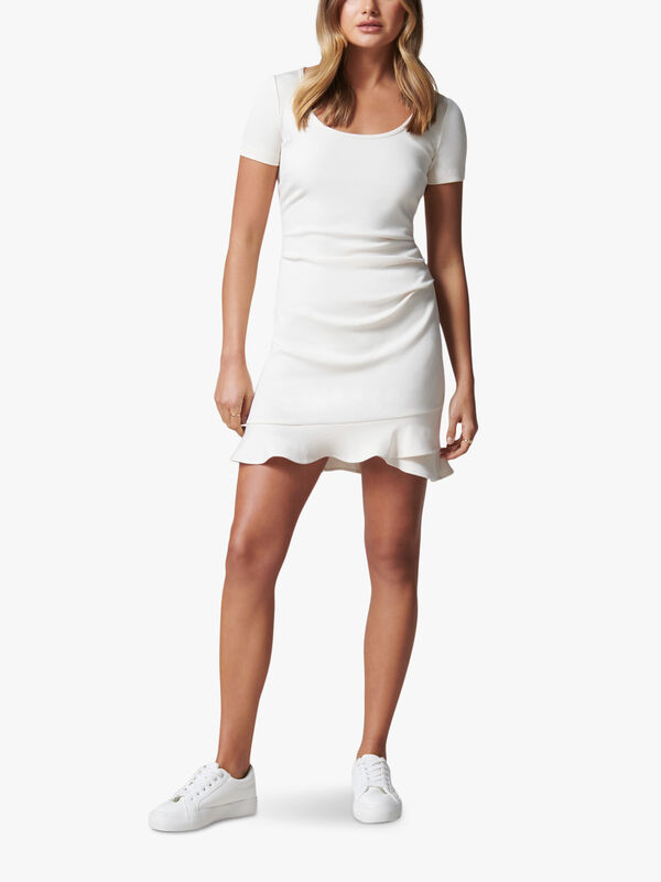 Alyssa Scoop Neck Frill Dress