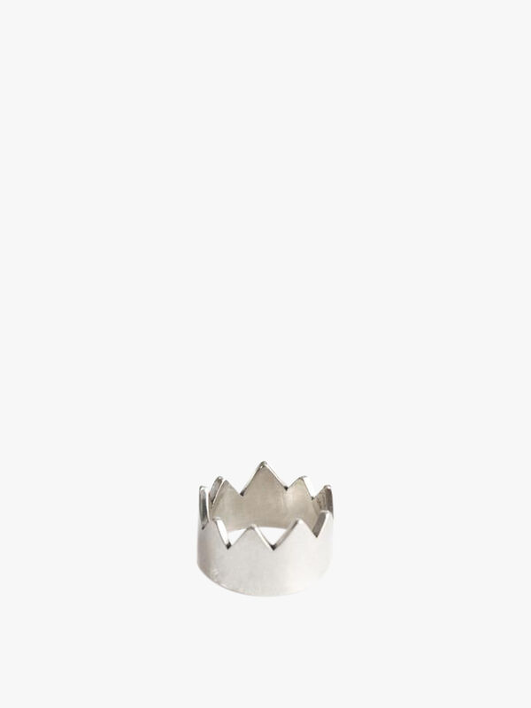 Silver Spiked Crown Ring