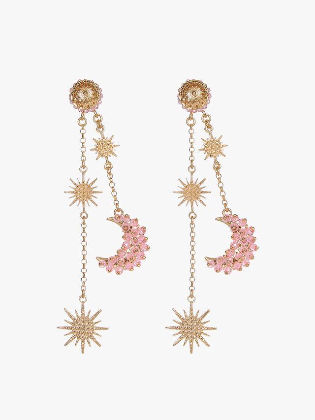 Celestial Luna Pink Zircon Earrings