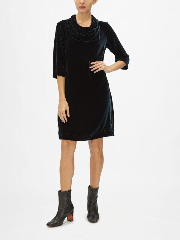 Roll Collar Velvet Dress