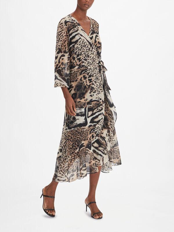 Animal Print Chiffon Wrap Midi Dress