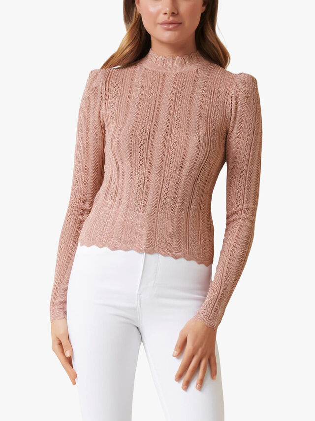 Azalea Pointelle Puff Sleeve Jumper