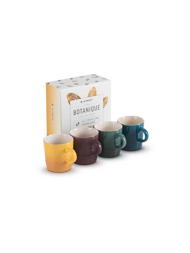 Stoneware Botanique Set of 4 100ml Espresso Mugs
