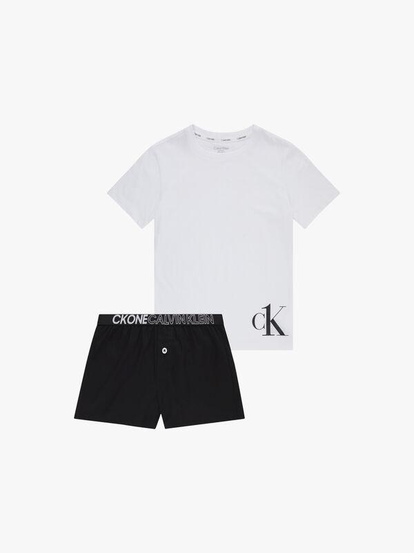 Woven T-Shirt and Shorts Pyjama Set