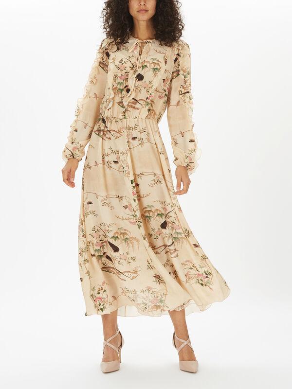 Romantic Bird Print Long Dress