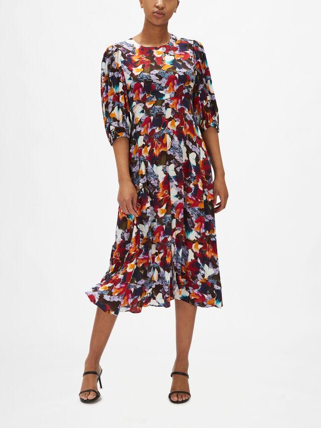 Printed 3/4 Sleeve Maxi Dress