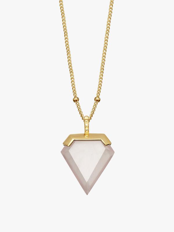 Rose Quartz Sheild Necklace