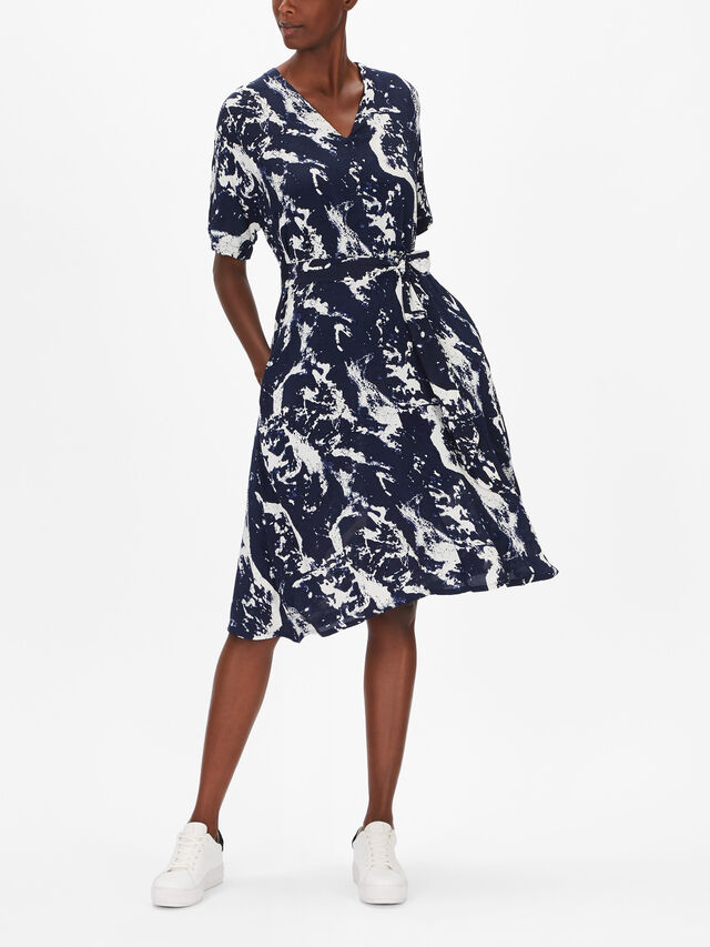 Nel Marble Print Belted Shirt Dress
