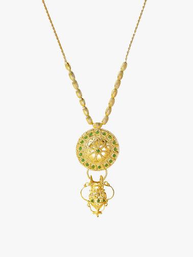 Green Agate Treasure Shield Necklace