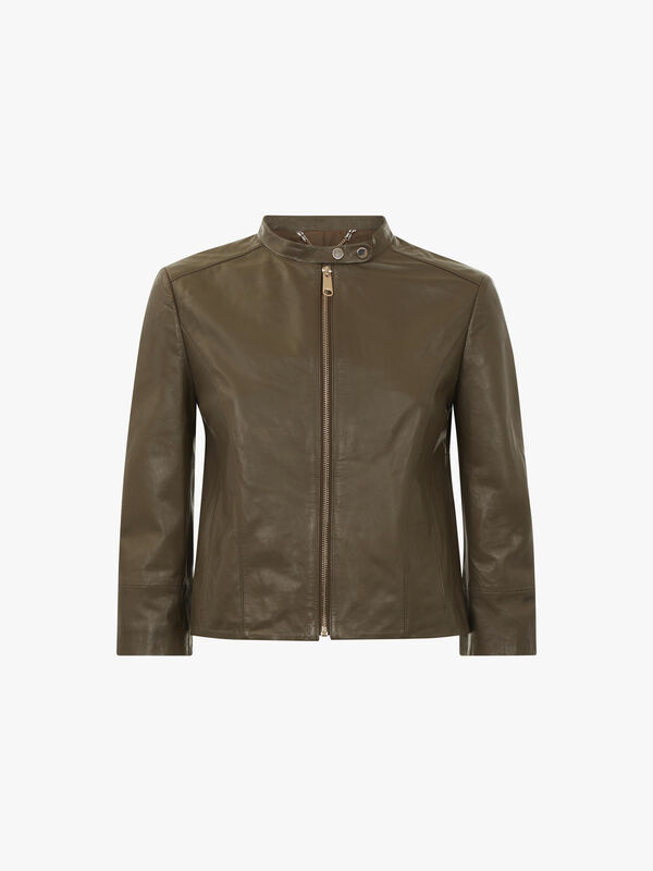 Denotare Collarless Leather Jacket