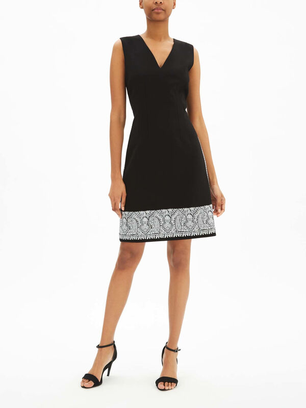 Tara Sculpted Viscose Embroidered Dress