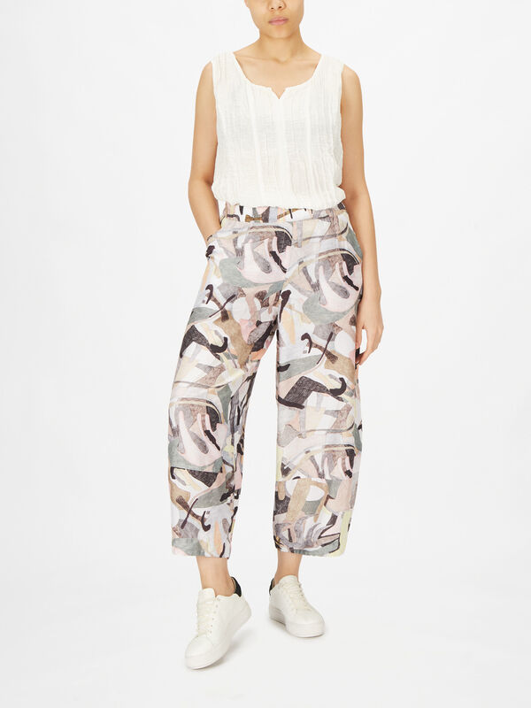 Abstract Print Bamboo Blend Pull On Trouser