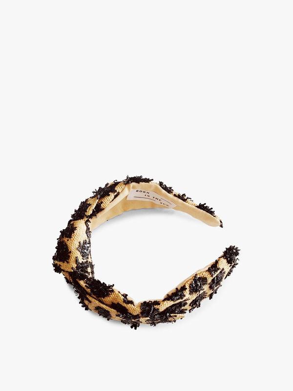 Raffia and Straw Pom Pom Headband