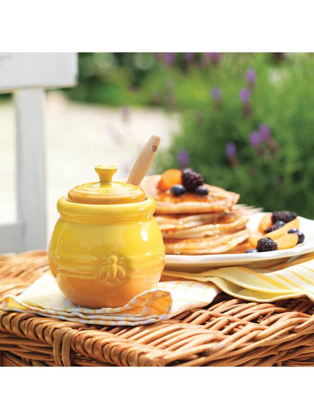 Stoneware Honey Pot and Dipper Dijon