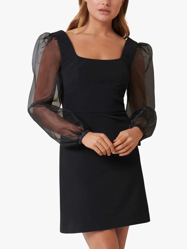 Crystal Sheer Sleeve Mini Dress