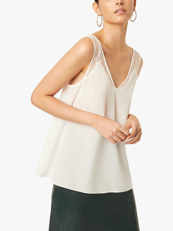 Crepe Light Lace Trim Vest
