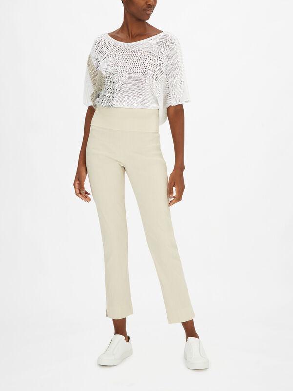 Pull On Slim Fit Linen Trouser