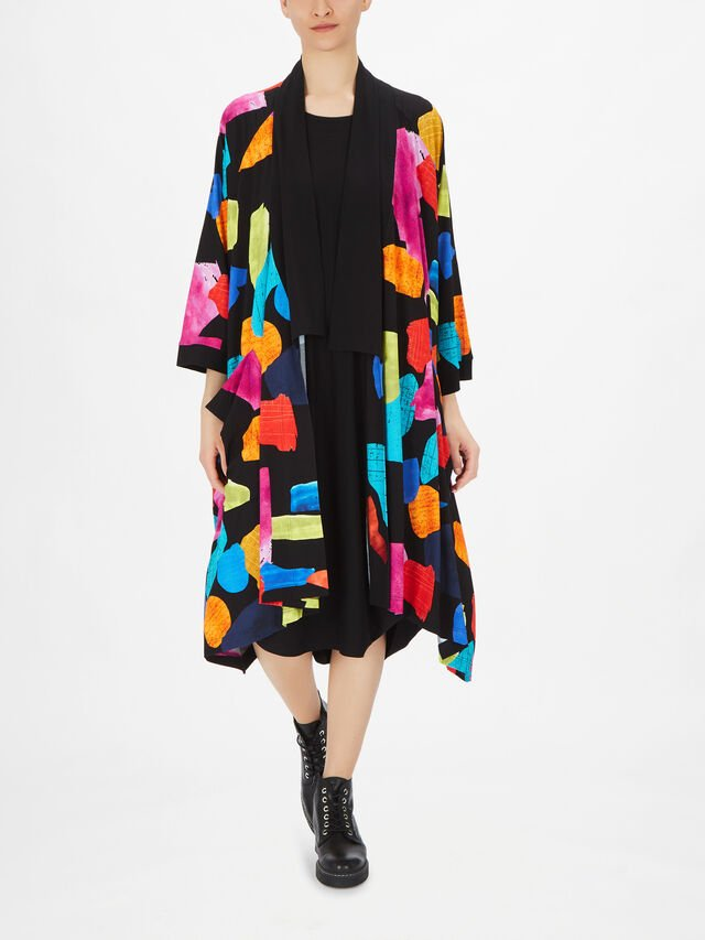 Obi Patterned Duster Jacket with Front Pockets