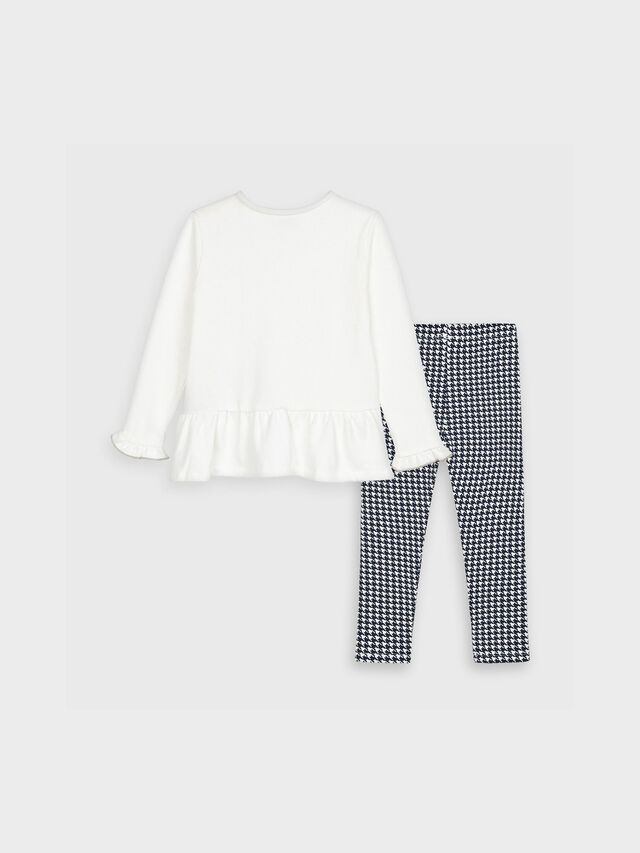 Handbag Top With Dogtooth Legging Set