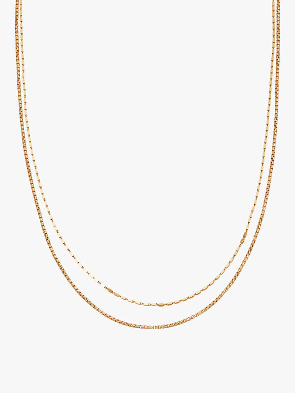 Box Link Double Chain Necklace