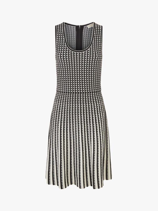 Geo Grid Pleated Dress