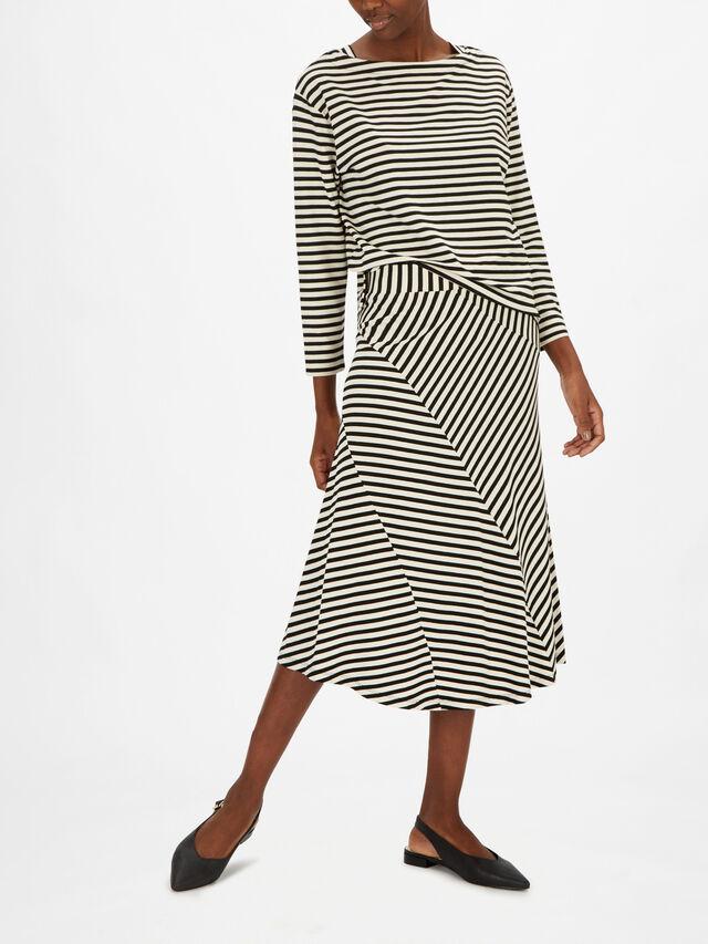 Saris Geometric Line Print Jersey Midi Skirt