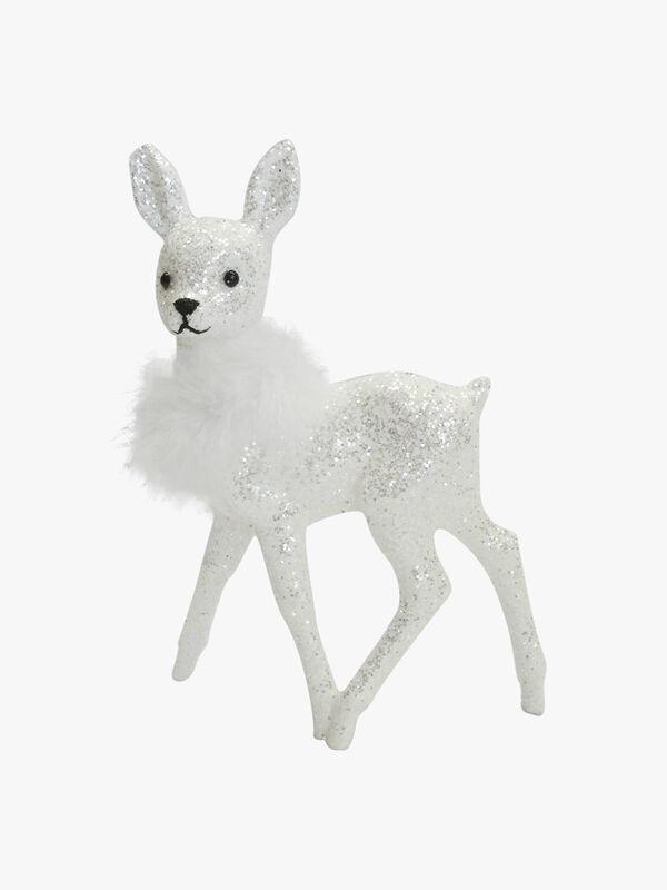 Deer Glitter White Decoration