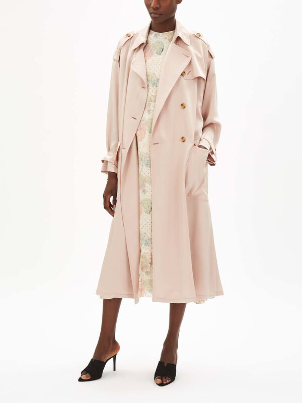 Fluid Satin Trench Coat