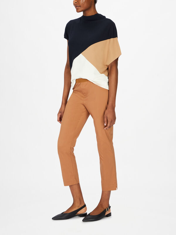 Cropped Pull On Cotton Poplin Trouser