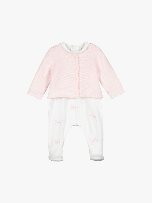 Embroidered Mini Bows And Cardigan Set