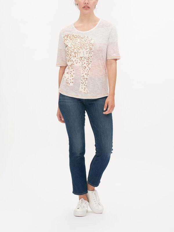 Placement Animal Print Slub Stripe T Shirt