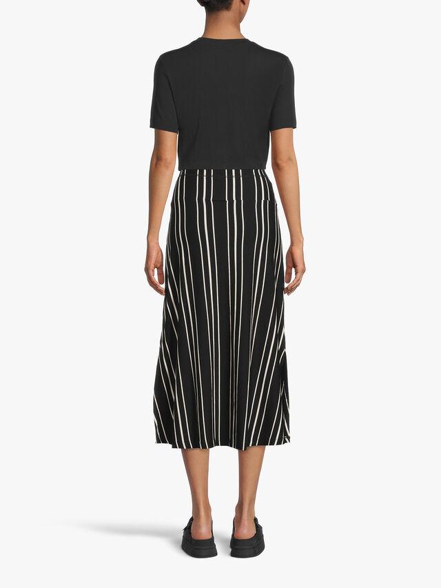 Sanna Striped Jersey Midi Skirt with Drawstring Waist