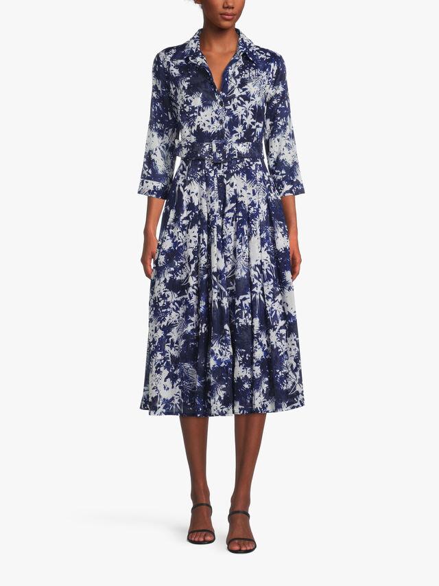 3/4 Sleeve Palm Mono Midi Dress