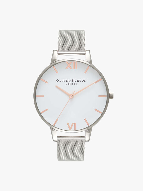 White Dial Mesh Watch