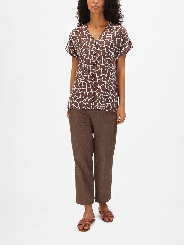 Giraffe Print Cotton Vee Shirt