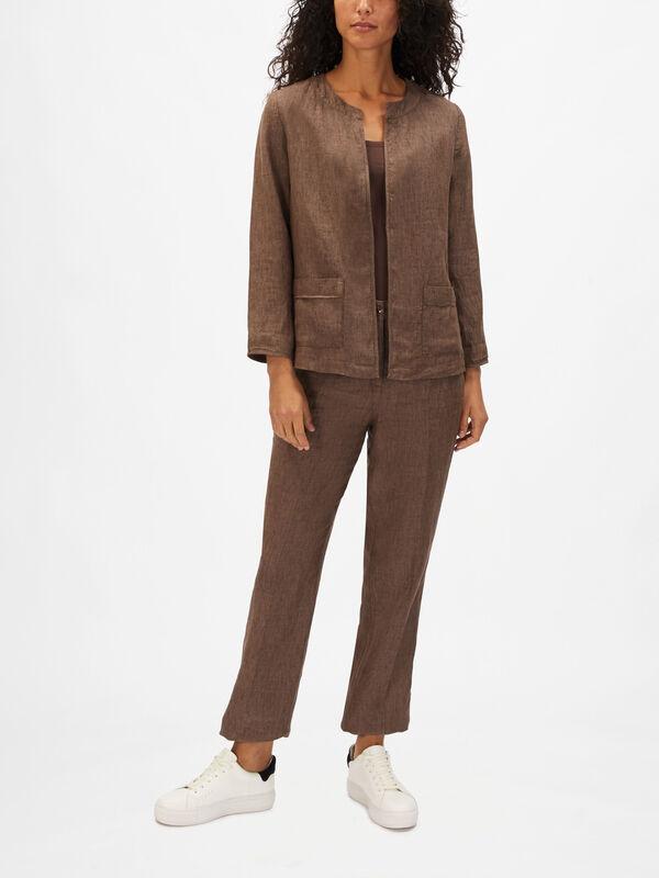 Linen Mel Stripe Lined Jacket