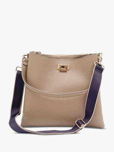 Taupe Leather Tote Bag with Navy Taupe Edge Strap