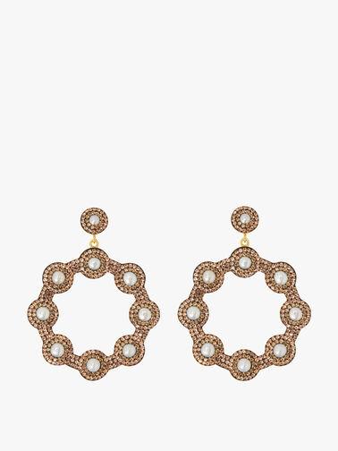 Golden Pearl Hoop Earrings